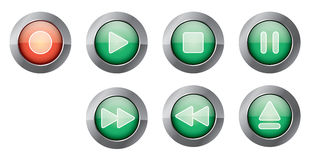 Green playback buttons. Illustration of glossy green playback controls, with red recording button Stock Photos