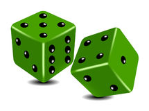 Green playing dice Royalty Free Stock Images