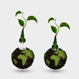 Green plug with leaves and planet. Stock Photography