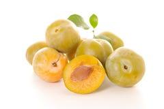 Green plum. Isolated on white stock photo
