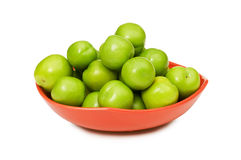 Green plums isolated Stock Photography