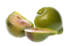 Green Plums Macro Isolated Royalty Free Stock Images