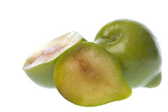 Green Plums Macro Isolated Stock Photography