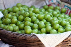 Green Plums At A Street Market Royalty Free Stock Images