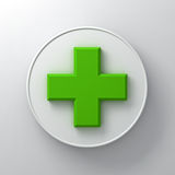 Green plus sign abstract on round signboard over white wall background with shadow. 3D rendering Stock Photo