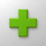 Green plus sign abstract on white wall background with shadow. 3D rendering Stock Photo