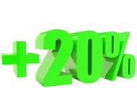 Green plus twenty percents isolated on white Royalty Free Stock Photo