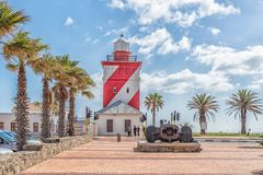 Green Point Lighthouse at Mouille Point in Cape Town. CAPE TOWN, SOUTH AFRICA, AUGUST 17, 2018: The Green Point Lighthouse at Mouille Point in Cape Town in the stock image