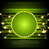 Green poker background with golden stars and green circle frame Stock Images