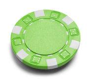 Green Poker Chip. With Copy Space Isolated on a White Background Stock Photo