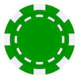 Green Poker Chip Flat Icon Isolated on White Stock Photos