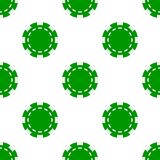 Green Poker Chip Icon Seamless Pattern. A seamless pattern with a green poker chip flat icon, isolated on white background. Useful also as design element for vector illustration