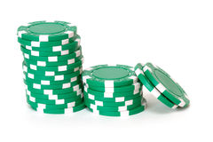 Green poker chips Royalty Free Stock Photos
