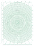 Green polar coordinate circular grid graph paper. Vector green polar coordinate circular grid graph paper, graduated every 1 degree, numbered every 10 degrees in Royalty Free Stock Image