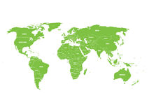 Green political World map with country borders and white state name labels.  Stock Photo