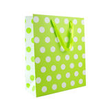 Green polka dot gift bag Royalty Free Stock Photos