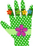 Green Polka Dot Hand Stock Image