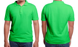 Green Polo Shirt Design Template. Green polo t-shirt mock up, front and back view, isolated. Male model wear plain green shirt mockup. Polo shirt design template stock image