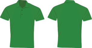 Green polo t shirt front and back view. Vector illustration Royalty Free Stock Image