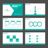 Green polygon presentation template Infographic elements and icon flat design set advertising marketing brochure flye Stock Photography
