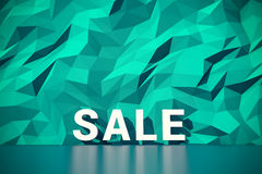 Green polygon wall background with big word sale royalty free stock photography