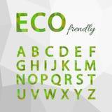Green Polygonal Alphabet Set. Eco friendly style. Stock Images