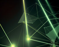 Green polygonal background, technology. Abstract mesh wireframe connected point green polygonal background. Technology, innovation and network concept. 3D Royalty Free Stock Photography