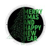 Green polygonal Christmas tree with text  for Merry christmas  Stock Images