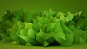 Green polygonal 3D surface in studio. Green polygonal surface in studio. Abstract 3D render Stock Photo
