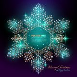 Green polygonal snowflake with flares for Merry christmas  Stock Photo