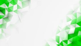Green polygons and free space abstract 3D render background Stock Image