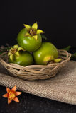 Green pomegranate in basket closeup background Royalty Free Stock Photo