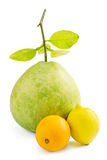 Green Pomelo fruit with lemon and orange, on white Royalty Free Stock Photo