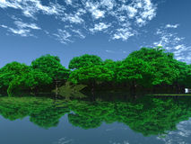 Green Pond. Green trees on pond coast - 3d scene Stock Image