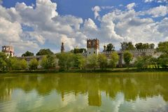 Green pond near the Novodevichy Monastery. Novodevichy convent, Summer trips in Moscow, City Sightseeing, Holy places of Russia Royalty Free Stock Images