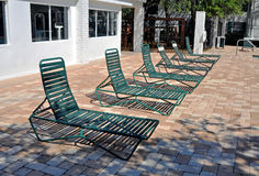 Green pool chairs Royalty Free Stock Images