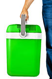 Green portable cooler for travel Stock Images