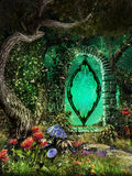 Green portal in the woods Stock Photography