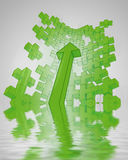 Green positive increasing up plus sign Stock Images