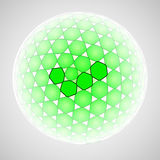Green positive line art polygon  sphere Royalty Free Stock Image