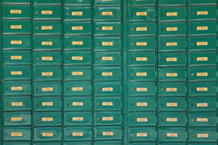 Green post boxes at post office Royalty Free Stock Photos