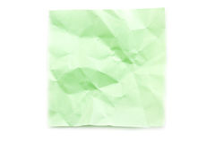 Green post-it note wrinkled Royalty Free Stock Image