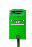 Green postbox isolated on the white background. Green postbox with white lettering isolated on the white background royalty free stock photos