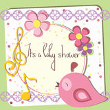 Green postcard. Baby shower postcard in a scrapbook stile with a pink bird Stock Photo