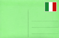 Green postcard. Back of vintage blank postcard with Italian flag royalty free stock photography