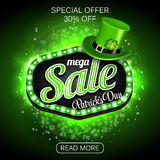 Green Poster, Banner or Flyer design of mega Sale on occasion of St. Patrick`s Day celebration. Stock Photo
