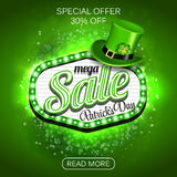 Green Poster, Banner or Flyer design of mega Sale on occasion of St. Patrick`s Day celebration. Stock Photos