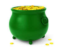 Green pot with coins royalty free illustration