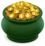 Green pot full of gold coins Vector Illustration