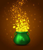 Green pot of gold coins on braun background with golden glowing particles. Irish holiday Saint Patrick`s Day. Vector illustration Royalty Free Stock Photography